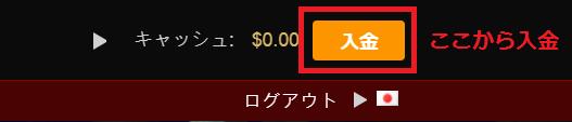 ライブカジノハウス 入金ボタン