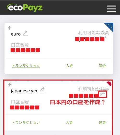 エコペイズ 通貨アカウント3