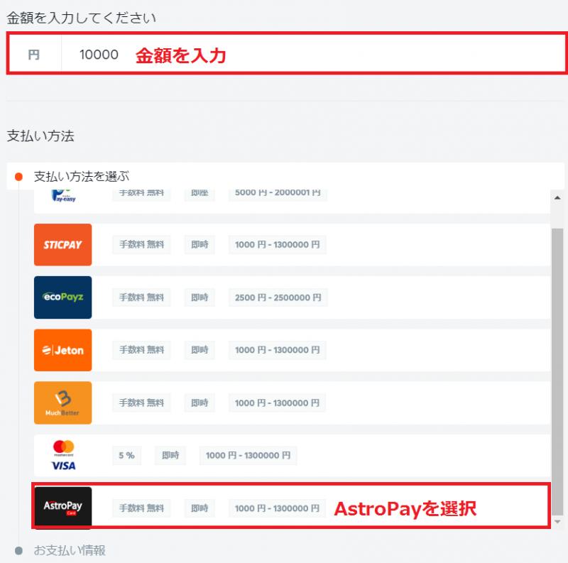 ビットカジノ 入金 AstroPay1