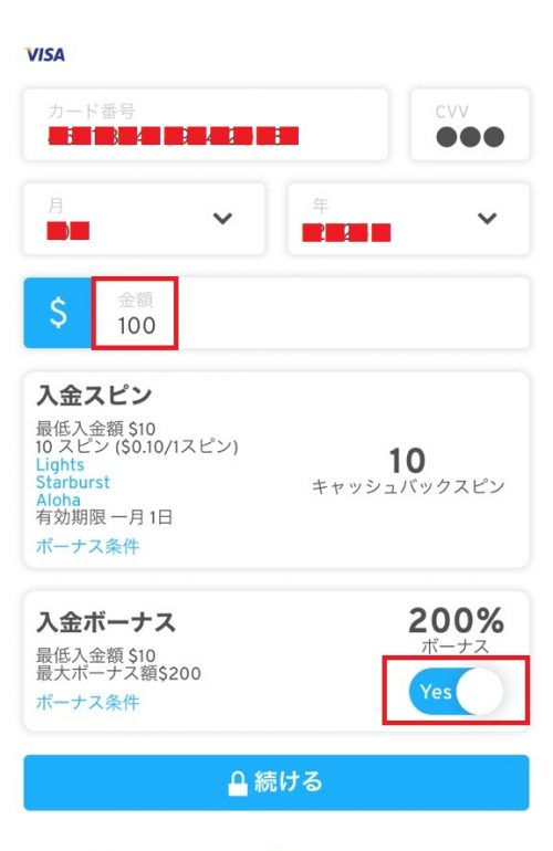 ワンダリーノ 入金 VISA2